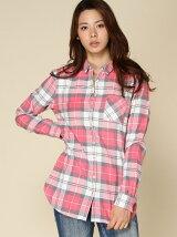 (W)コットンフランネルチェックシャツ