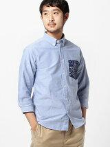 BEAMS / バンダナポケット 7分袖 ボタンダウンシャツ
