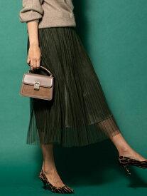Viaggio Blu 【大きいサイズ】チュールプリーツスカート ビアッジョブルー スカート スカートその他 グリーン ネイビー ベージュ【送料無料】
