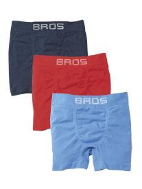 BROS BROS 【PANTS HOLIC】前閉じ 3枚セット ブロス インナー/ナイトウェア ボクサーパンツ/トランクス ブラック