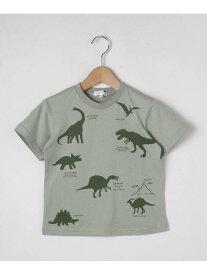 【SALE/20%OFF】3can4on 【90-140cm】恐竜プリントTシャツ サンカンシオン カットソー Tシャツ グリーン ベージュ ブルー