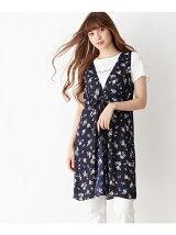 花柄ジレ×ロゴTシャツ
