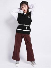 【SALE/69%OFF】ZIDDY サイド スリット ストレッチ サロペット パンツ (130cm~160cm) ベベ オンライン ストア ワンピース オールインワン ブラウン ブラック