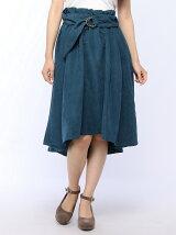 サッシュベルト付きピーチテールスカート