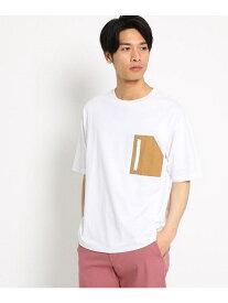 【SALE/40%OFF】THE SHOP TK 布帛ビッグポケットTシャツ ザ ショップ ティーケー カットソー Tシャツ ホワイト ブラック ベージュ パープル
