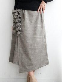 nina mew ギャザー フリル スカート ニーナミュウ スカート スカートその他 ブラウン【送料無料】