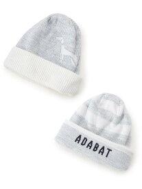 adabat リバーシブルニットキャップ アダバット 帽子/ヘア小物 ニット帽/ビーニー グレー ブラック ネイビー【送料無料】