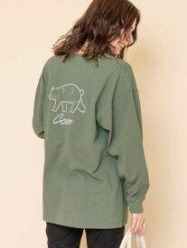 【SALE/10%OFF】coen 【WEB限定】コーエンベアバックプリントTシャツ(ロングスリーブ/ロンT) コーエン カットソー Tシャツ カーキ ホワイト ブラック ベージュ