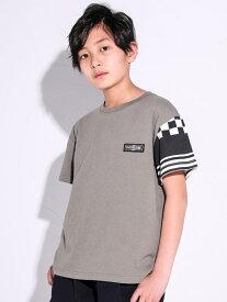 【SALE/10%OFF】RAD CUSTOM フラッグチェック ボーダー 切り替え スリーブ Tシャツ(120~160cm) ベベ オンライン ストア カットソー Tシャツ グリーン ブラック