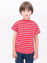 先染めボーダーボートネック半袖Tシャツ