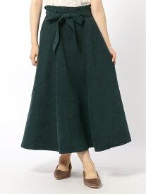 Lugnoncure Lugnoncure/サンディングリボン付きスカート テチチ スカート フレアスカート グリーン ネイビー ブラウン レッド【送料無料】