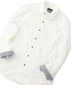 MEN'S BIGI ワンピーススナップダウン ジャージシャツ<イージーケア> メンズ ビギ シャツ/ブラウス 長袖シャツ ホワイト ブルー【送料無料】