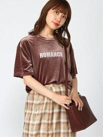 【SALE/60%OFF】WEGO WG/(L)ベロアロゴT ウィゴー カットソー Tシャツ ブラウン ベージュ