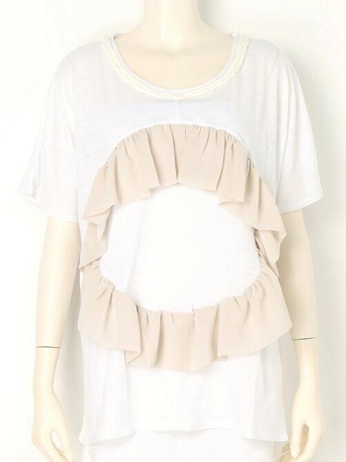 フリル&三つ編みデザインTシャツ
