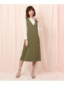 【SALE/20%OFF】Couture brooch ツイルジャンパースカート クチュールブローチ スカート ジャンパースカート グリーン パープル ネイビー【送料無料】