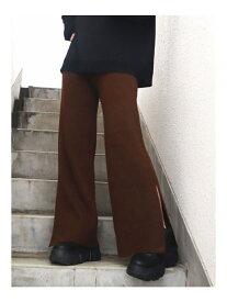 EMODA ヘムスリットニットパンツ エモダ パンツ/ジーンズ パンツその他 ブラウン グレー ブラック カーキ【送料無料】