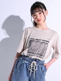 【SALE/25%OFF】ZIDDY 【ニコ☆プチ掲載】ゼブラパッチ バッグロゴ ルーズ Tシャツ(130~160cm) ベベ オンライン ストア カットソー Tシャツ ベージュ ブラック
