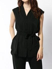 rienda オープンカラーSH リエンダ シャツ/ブラウス ノースリーブ/キャミソールシャツ ブラック ブラウン ホワイト【送料無料】