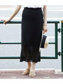 【SALE/50%OFF】ROPE' 【セットアップ対応】透かし柄ニットタイトスカート ロペ スカート スカートその他 ブラック ホワイト【送料無料】