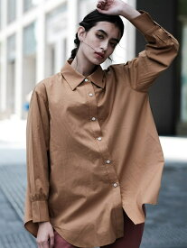 nina mew ロゴ入り ビッグシャツ ニーナミュウ シャツ/ブラウス 長袖シャツ ブラウン【送料無料】