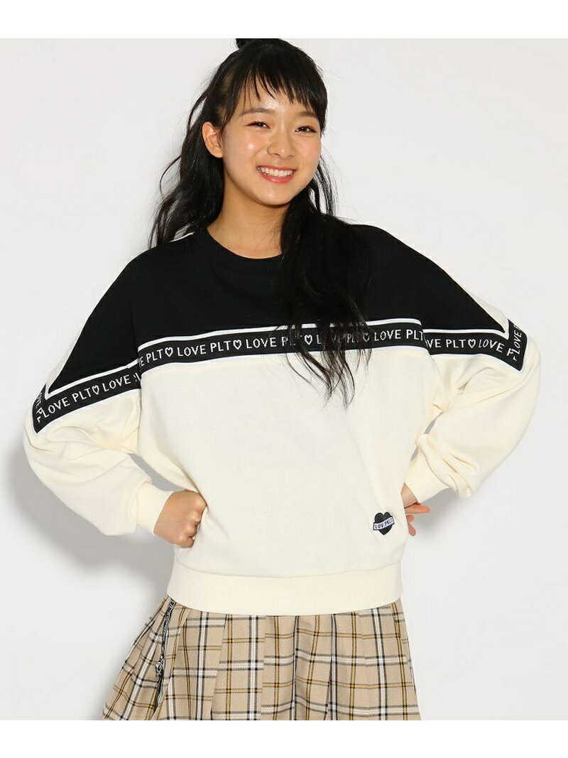 【SALE/34%OFF】PINK-latte ロゴテープ切替 トップス ピンク ラテ カットソー【RBA_S】【RBA_E】