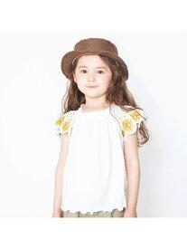 【SALE/30%OFF】branshes 袖花柄刺繍半袖Tシャツ ブランシェス カットソー Tシャツ ホワイト ネイビー