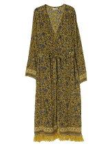 flower fringe long gown