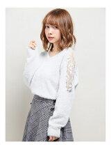S・フェザーヤーン肩シアーレース/KNIT