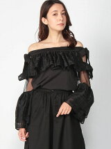 Off Shoulder Tartan Ruffle Sleeve