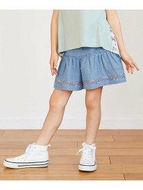 【SALE/50%OFF】any FAM KIDS デニム裾刺繍キュロット エニィファム パンツ/ジーンズ キュロット ブルー ネイビー