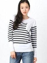 [W]Border Crew neck sweater