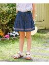 【SALE/50%OFF】any FAM KIDS デニム裾刺繍キュロット エニィファム パンツ/ジーンズ キュロット ネイビー ブルー