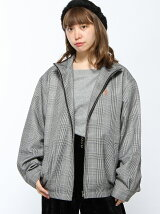 【コート】PLAID STAND COLLAR ZIP JACKET