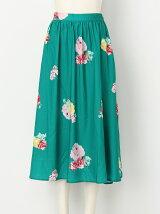水彩ローズフレアスカート