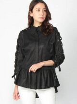 Circle Net Collar Eyelet Sleeve Ruffle