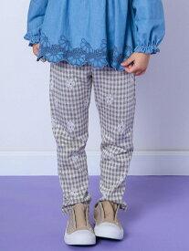 【SALE/30%OFF】SLAP SLIP ギンガムチェック 花 ロングパンツ (80~120cm) ベベ オンライン ストア パンツ/ジーンズ フルレングス ベージュ ピンク ブルー