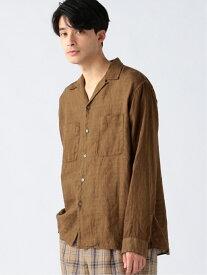 【SALE/60%OFF】B:MING by BEAMS B:MING by BEAMS / ベルギーリネン オープンカラーシャツ BEAMS ビームス ビーミング ライフストア バイ ビームス シャツ/ブラウス 長袖シャツ ブラウン オレンジ ホワイト