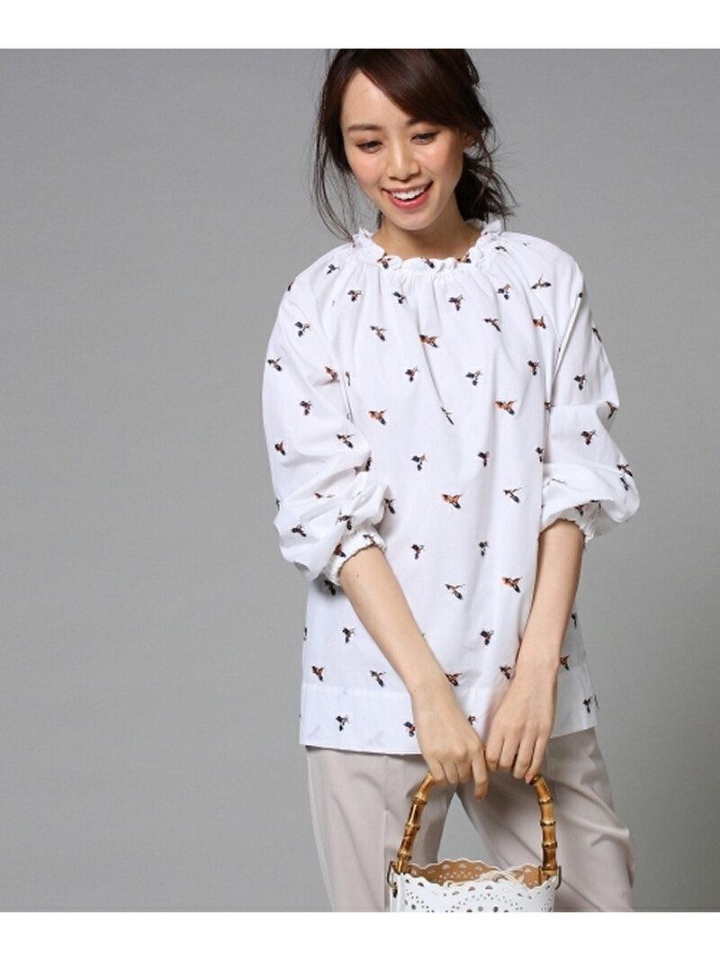 【SALE/50%OFF】UNTITLED 【洗える】小鳥刺繍 スモックシャツ アンタイトル シャツ/ブラウス【RBA_S】【RBA_E】【送料無料】
