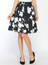 ドット花柄スカート