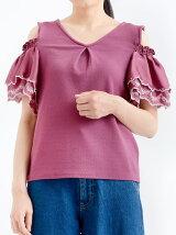 袖刺繍肩開きプルオーバー