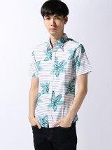 (M)【セレクト】フラワー×ボーダー 綿麻シャンブレーシャツ