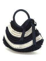ボーダーリボン編み込みバッグ