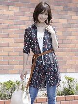花柄ロングシャツ
