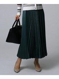 UNTITLED スウェード調サテン素材プリーツスカート アンタイトル スカート ロングスカート グリーン ブラウン ベージュ【送料無料】