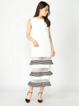 Sleeveless Striped Pleated Leyers Dress