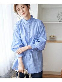 【SALE/10%OFF】ROPE' PICNIC フリルバンドカラーシャツ ロペピクニック シャツ/ブラウス シャツ/ブラウスその他 ブルー ブラック ホワイト