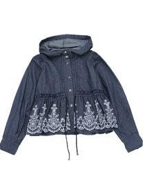 【SALE/28%OFF】axes femme (W)フラワー刺繍ブルゾン アクシーズファム コート/ジャケット ブルゾン ネイビー ブラック ピンク【送料無料】