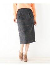 シャギーチェックミディタイトスカート