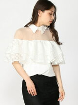 Collar Mesh Check Ruffle