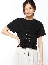 フロントコルセットベルト風Tシャツ